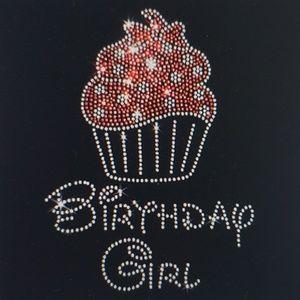 """Birthday Girl & Cupcake Rhinestone Iron On Motif"